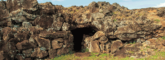 Man-made entrance to natural cave